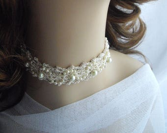 Crocheted Choker Wedding Prom Ivory Pearls Featured At Marths Stewart Wedding Party handmade by handcraftusa Made in USA