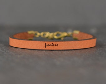 fearless |  leather bracelet | graduation gift | message bracelet | college student gift | quote bracelet | laurel denise