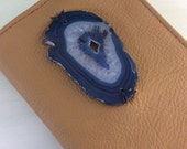 Shine & Rise Blue Agate Journal by Binding Bee / Refillable / Crystal /Agate Slice / Reclaimed Leather