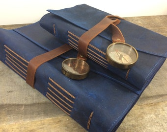 Voyage Leather Journals By Binding Bee / Deluxe Leather Journal / Maps / Compass