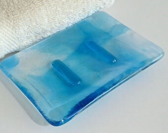 Streaky Turquoise, White and Clear Fused Glass Soap Dish by BPRDesigns