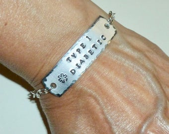 Type 1 Diabetic Medical Alert Hand Stamped Aluminum ID Bracelet