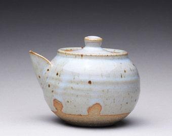 handmade ceramic teapot, tea pottery, gaiwan tea pot with orange shino and light blue gray chun glazes