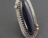 Blue Goldstone Ring, size 7.5 ring, sterling silver, boho, bohemian, blue stone ring, sparkle,statement ring, goldestone ring, michele grady