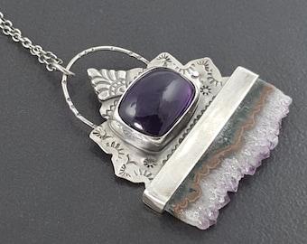 Amethyst Slice Necklace, sterling silver, amethyst, stamped, purple, sterling silver, stamped jewelry, boho, bohemian, crystal necklace