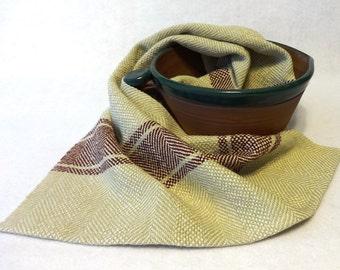 Handwoven Cotton/Linen Towel for Kitchen & Bath - Handtowel, Kitchen Towel, Handwoven Towel, Tea Towel, Breadcloth, Ecru Towel (#16-28A)