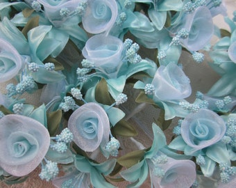 36 pc Rosette Rose Wired Flowers AQUA Organza Satin Ribbon w Pips Bridal Bouquet Hair Bow Accessory
