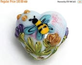 ON SALE 50% OFF 11830205 Bumble Bee Dream Heart Focal - Handmade Glass Lampwork Bead