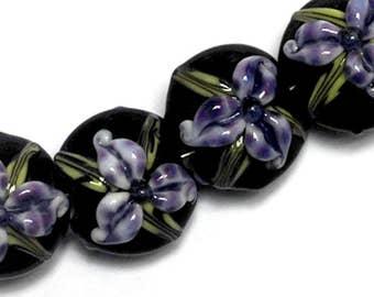 NEW! 10205712 Four Purple Iris Lentil Beads - Handmade Glass Lampwork Bead Set