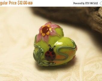 ON SALE 40% OFF Ladybug on Spring Green Heart Focal Bead - Handmade Glass Lampwork Bead 11833105