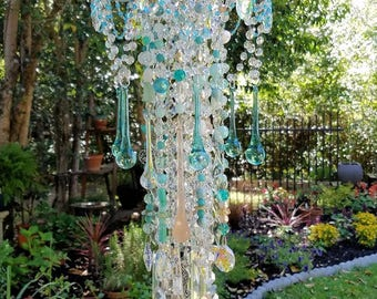On Hold Antique Crystal Wind Chime, Beach Crystal Wind Chime, Aqua Peach Wind Chime, Garden Decor, Crystal Art, Garden Art