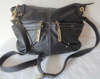Stone Mountain all genuine leather larger  hobo, cross body  bag, messenger bag in deep black awesome pristine condition rare