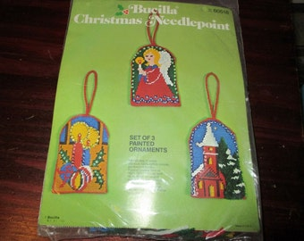 Vintage Bucilla Needlepoint Ornament Kit Painted Ornaments 60518 Sealed and Ready to Stitch