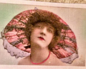 "Fusible vintage image woman with floral hat approx. 2""x3"""