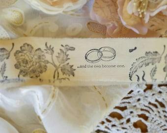 Wedding Trim, DIY wedding, favors, wedding  Decor, fabric trim, Gift wrap, Fabric Ribbon, hand stamped trim, Tattered Ribbon, Bridal shower