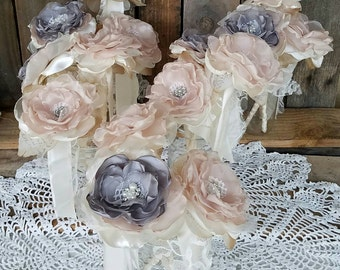 Mason Jar Flowers Wedding Centerpiece DIY Fabric