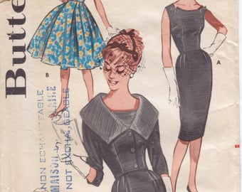 Vintage Pattern Butterick 9563Misses' Dress and Waist-Length Jacket 60s Size 16 B36