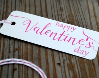 Set of 10 Valentine's Day Gift Tags, Bakers Twine, Heavy Cardstock, mad4plaid