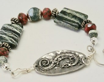 Forest Green Bracelet, Pewter Dragon Bracelet, Green Jasper Bracelet, Silver Celtic Weave Jewelry, Fantasy Jewelry, Valentine Gift for Irish
