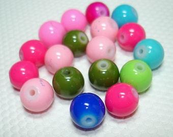 Assorted Glass Round Beads (Qty 18) - B3317