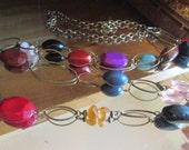 brass rainbow drape necklace
