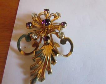 Amethyst flower brooch