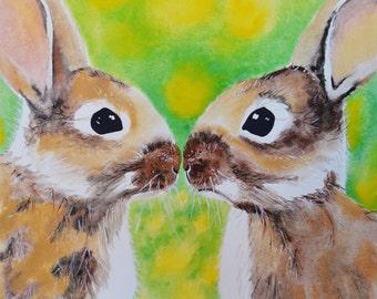 Bunny Kisses Art Print 8x 10 Watercolor