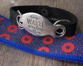 Sterling silver phish leather bracelet