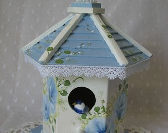 Birdhouse Hand Painted Blue Roses, Pearls Lace Trim Cottage Chic Home Decor