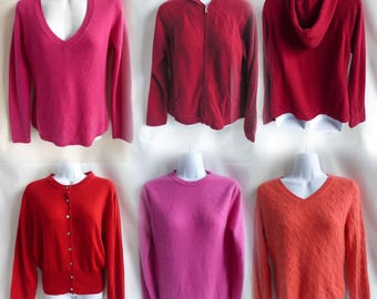 100% Cashmere Sweaters Lot of 5 Red Pink Coral Craft Cutters recycled C2191