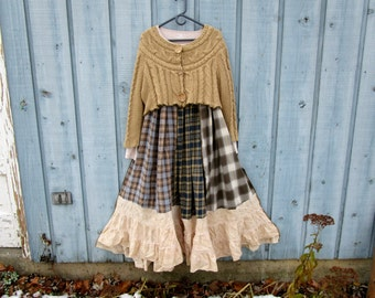 Prairie Plaid Flannel Reconstructed Sweater Dress// Large// Upcycled Long Dress// Winter// emmevielle