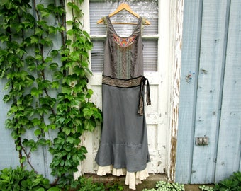Upcycled Embroidered One of a Kind Maxi Dress// Reconstructed Dress// Blue Gray// Altered Clothing// Small// emmevielle