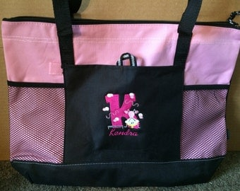 Personalized Girls Gymnastics Gymnast Tote Bag Embroidered