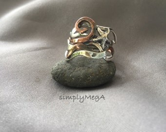 silver Starfish on silver and copper kelp ring