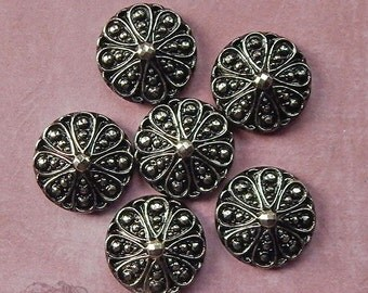 Vintage Glass Cabochons - 22 mm Round Geometric Pattern - Pewter or Marcasite over Black - West German (2 pc)