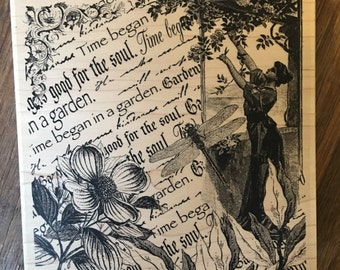 Garden Wood Mounted Rubber Stamp