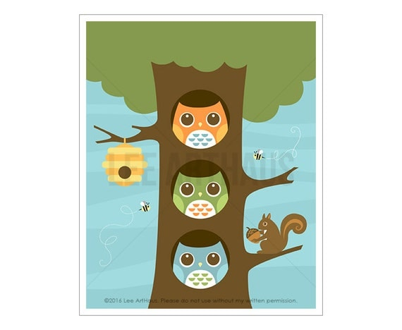 88A Owl Print - Three Owls Wall Art - Modern Owl Wall Art - Cute Owl Nursery Print - Squirrel Print - Woodland Animal Art - Woodland Drawing