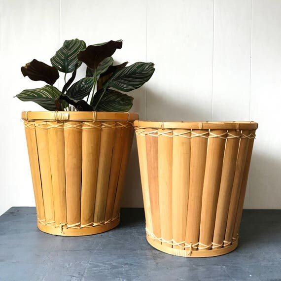 split bamboo planter basket - round rattan wastepaper basket - boho plant holder