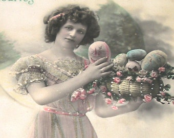 1900s French postcard Edwardian lady with Easter egge,  RPPC real photo, paper ephemera.