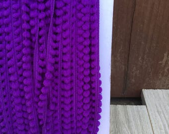 NEW BABY BALL Fringe Purple-10mm 1/4 inch- 3  yards