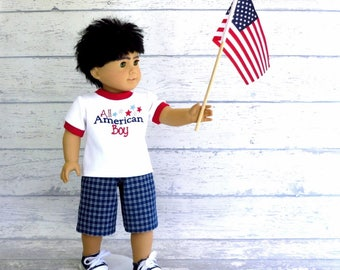 18 inch American Boy Doll Clothes 4th of July Tee Shirt and Shorts Outfit