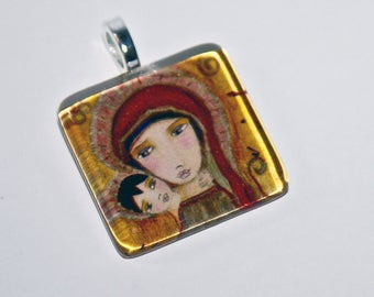 Byzantine  Madonna  - Original Small Glass Tile Pendant  by FLOR LARIOS ART