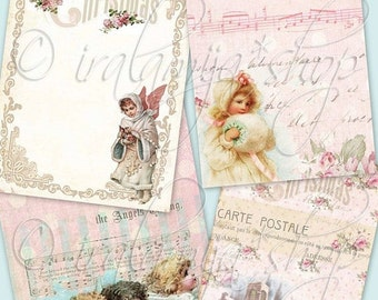 SALE PINK CHRISTMAS Collage Digital Images -printable download file-