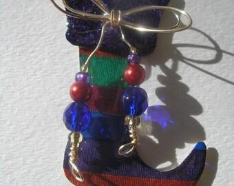 Signed Stephen Dalton Bright Christmas Boot Stocking Pin Pendant Czech Glass