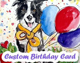 Custom Birthday Card, Dog Birthday Card, Cat Birthday Card, Original Watercolor Painting, Hand Painted Cards, Thank You Card, For Pet Lovers