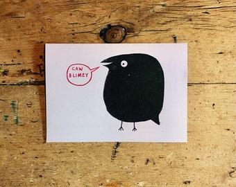 Caw Blimey Gocco print card