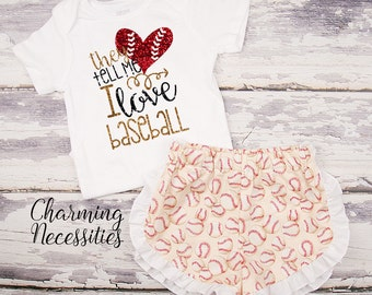 Baseball Sister Shirt, Baseball Fan, Top and Ruffle Shorts Set, Baby Girl, Toddler Girl Clothes, They Tell Me I Like Baseball - Cream