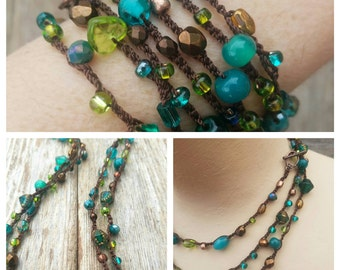Versatile Long Necklace 7X Wrap Bracelet Headwrap Beaded Necklace Crochet Necklace Glass Bead Necklace Teal Copper Green Brown MADE TO ORDER