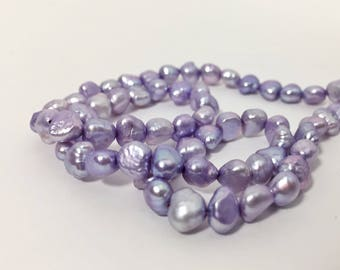 16in Strand of Cultured Lavender Pearls - Flat Sided Potato Shape - 6mm to 7mm - Light Purple Color