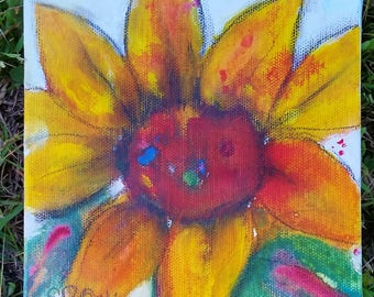 Sunflower Small, 6 x6 Original Painting